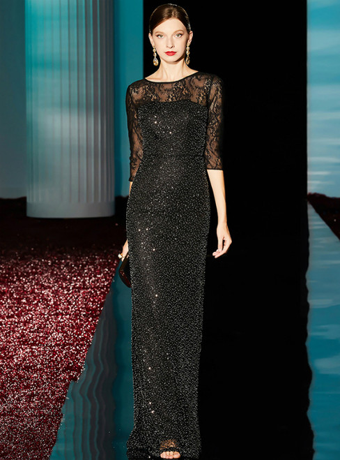 Sheath Black Lace Beading Sequins Half Sleeve Mother of the Bride Dress