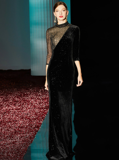 Black Mermaid High Neck 3/4 Sleeve Sequins Long Mother of the Bride Dress