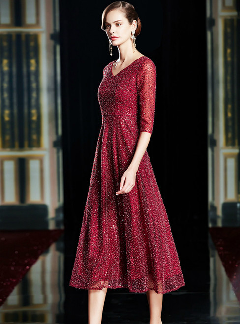 A-Line Burgundy Sequins Beading V-neck Half Sleeve Mother Of The Bride Dress