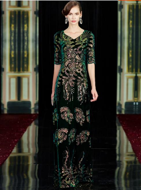 Sexy Green Velvet V-neck Short Sleeve Sequins Appliques Mother Of The Bride Dress