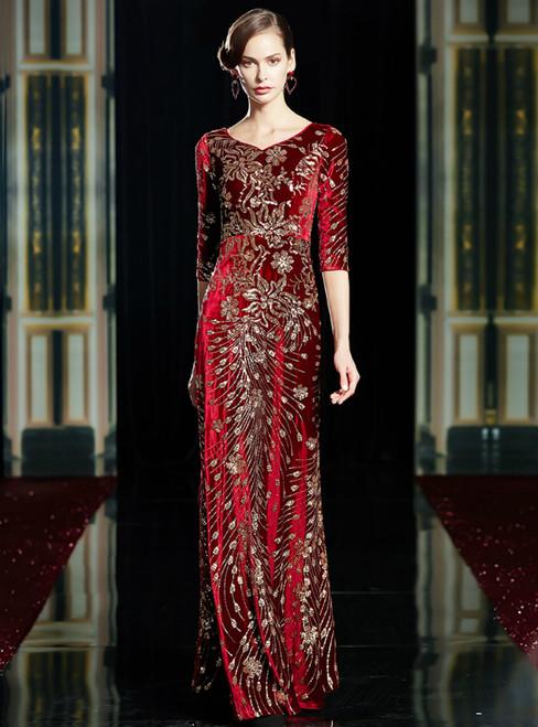 A-Line Burgundy Velvet V-neck 3/4 Sleeve Sequins Mother Of The Bride Dress