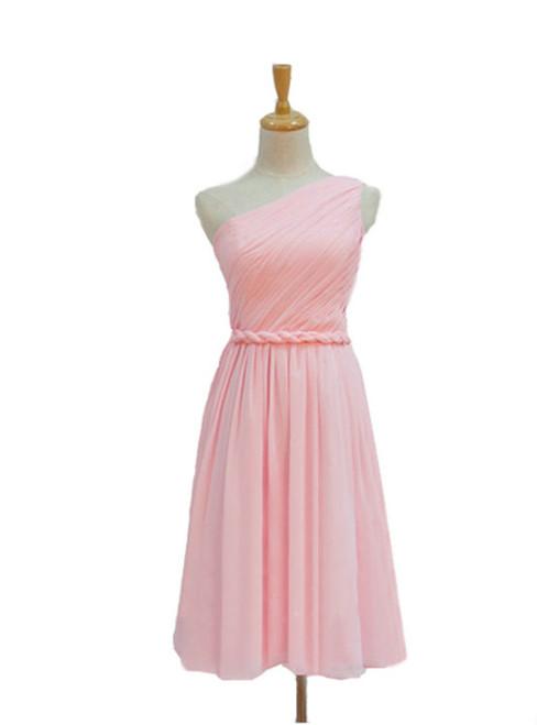 A-Line Pink Chiffon One Shoulder Pleats Short Bridesmaid Dress