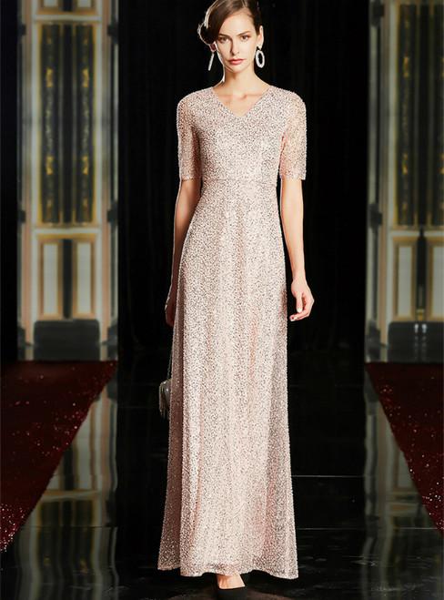 A-Line Pink Beading Seuqins V-neck Short Sleeve Mother Of The Bride Dress