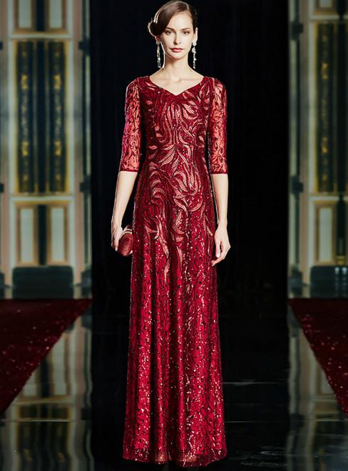Burgundy Sequins V-neck 3/4 Sleeve Long Mother Of The Bride Dress