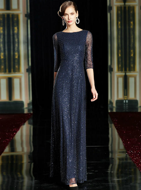 A-Line Navy Blue Beading Sequins 3/4 Sleeve Mother Of The Bride Dress