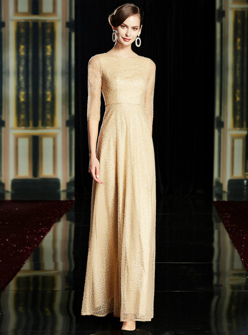 A-Line Champagne Beading Sequins 3/4 Sleeve Mother Of The Bride Dress