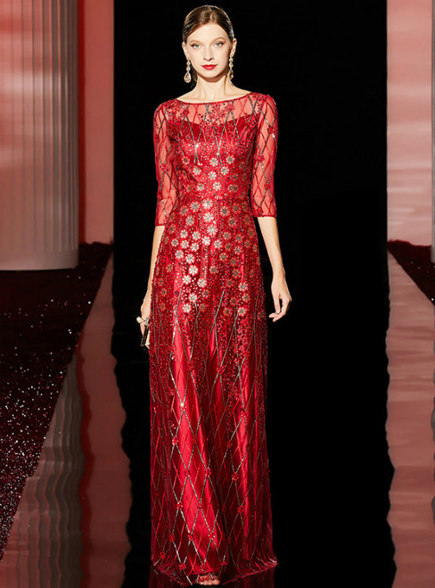 A-Line Red Tulle Sequins Appliques 3/4 Sleeve Long Mother of the Bride Dress