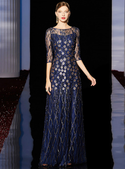 A-Line Navy Blue Tulle Sequins Appliques 3/4 Sleeve Long Mother of the Bride Dress