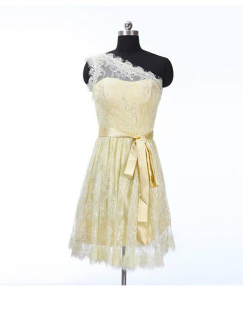 One shoulder bridesmaid dress  junior bridesmaid dress  lace bridesmaid dress