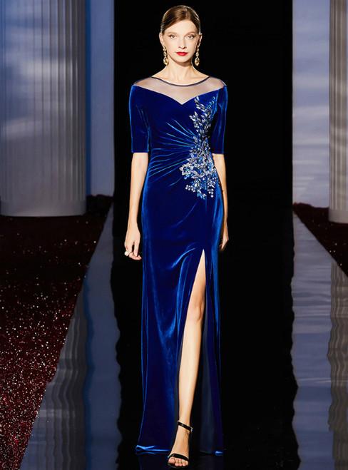 Blue Sheath Velvet Short Sleeve Sequins Appliques Mother of the Bride Dresses