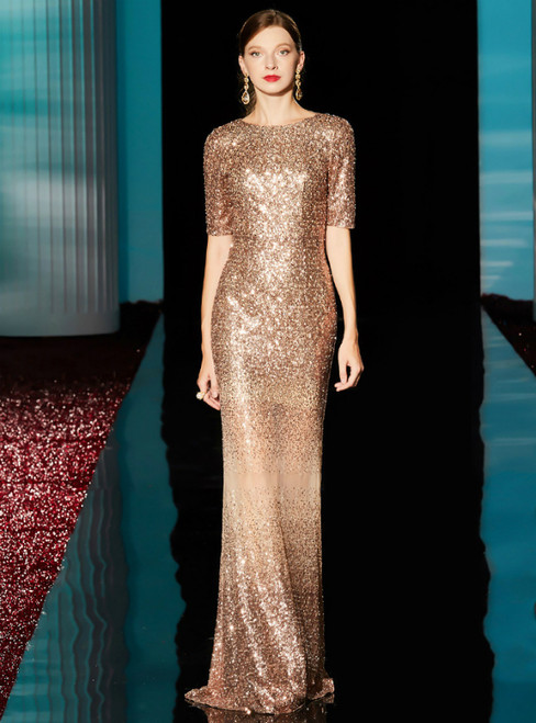 Champagne Gold Sequins Mermaid Short Sleeve Mother of the Bride Dresses