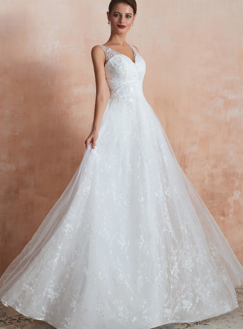 Sexy White V-neck Tulle Appliques Long Wedding Dress
