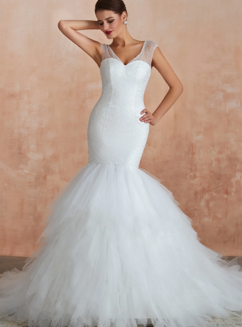 White Mermaid Tulle V-neck Backless Sequins Wedding Dress