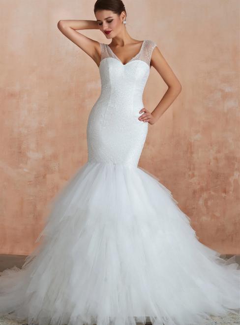 White Mermaid Tulle V-neck Backless Sequins Wedding Dress