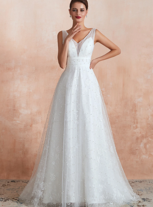 A-Line White Tulle Lace V-neck Backless Long Wedding Dress