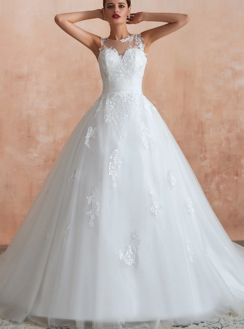 White Ball Gown Tulle Appliques Sleeveless Wedding Dress