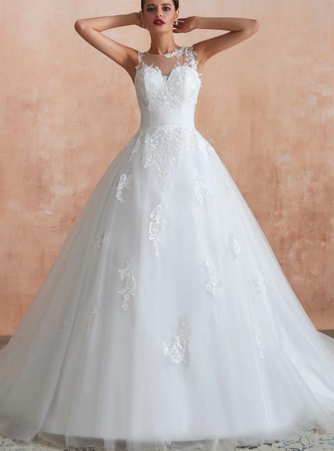White Ball Gown Tulle Appliques Sleeveless Wedding Dress