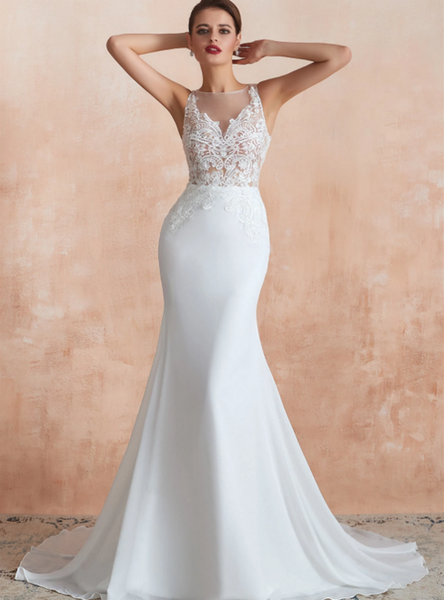 White Mermaid Chiffon Illusion Sleeveless Wedding Dress