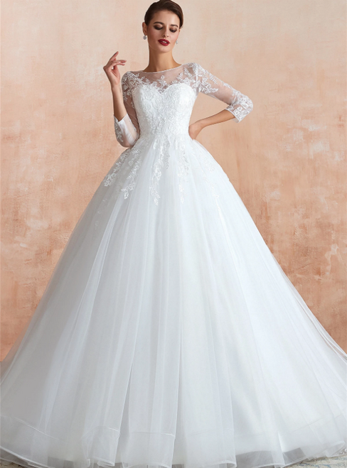 White Ball Gown Long Sleeve Tulle Lace Appliques Wedding Dress