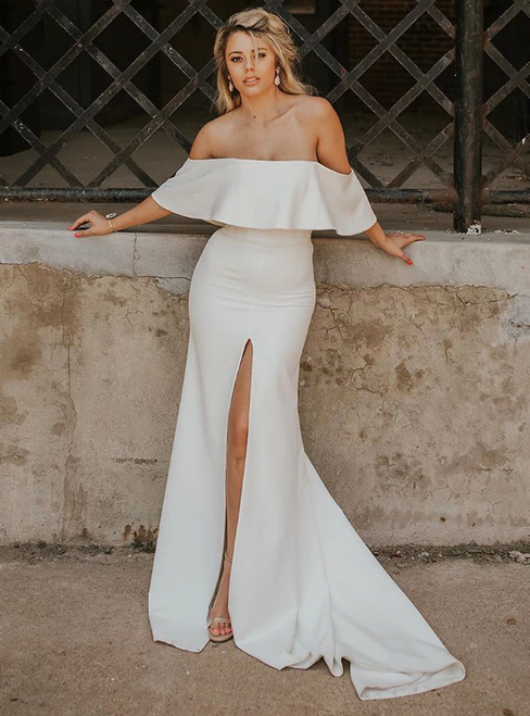 White Mermaid Satin Off the Shoulder Wedding Dress With Split