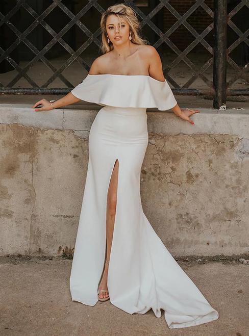 White Mermaid Satin Off the Shoulder Wedding Dress With Split