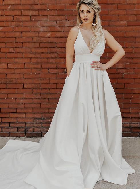 A-Line Satin Deep V-neck Pleats Wedding Dress With Pocket