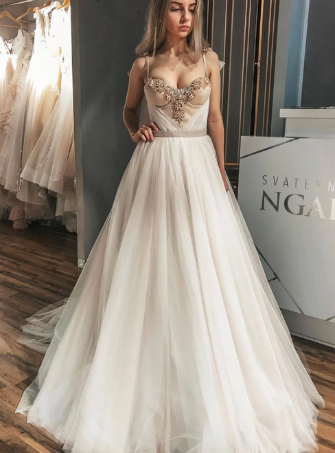 A-Line Ivory Tulle Spaghetti Straps Wedding Dress With Champagne Satin