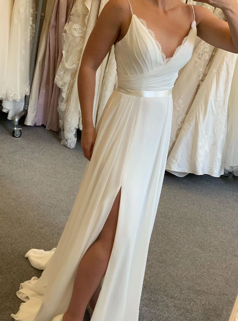 A-Line White Chiffon Deep V-neck Pleats Wedding Dress With Side Split