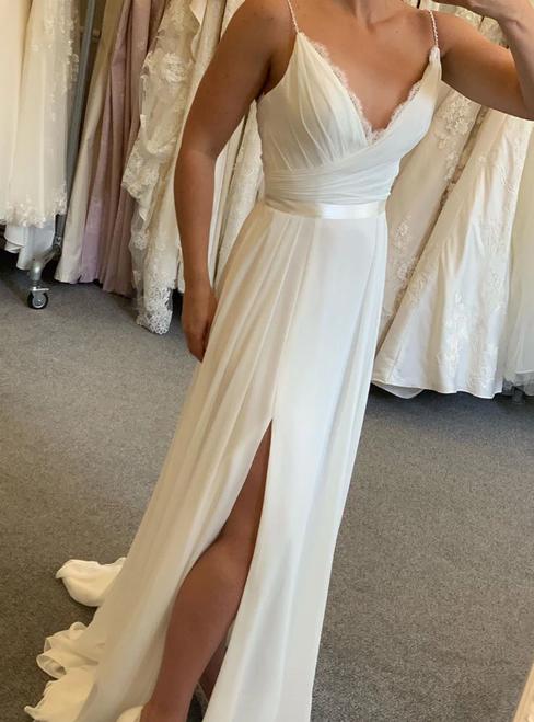 A-Line White Chiffon Deep V-neck Pleats Wedding Dress With Side Split