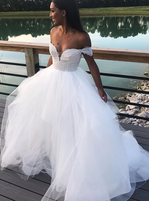White Ball Gown Tulle Off the Shoulder Wedding Dress