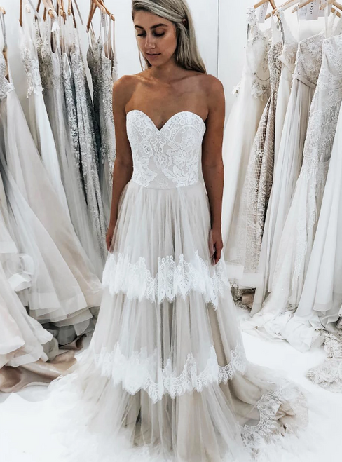 A-Line Ivory Tulle Lace Sweetheart Tiered Wedding Dress