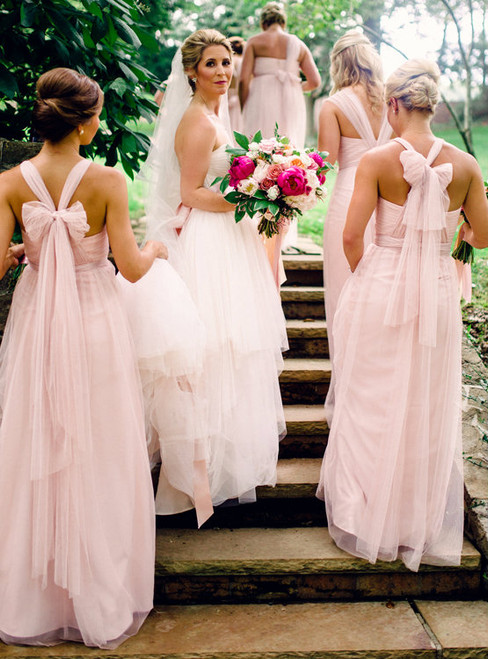 Gorgeous Pink Long Bridesmaid Dress Convertiable Bridesmaid Dess