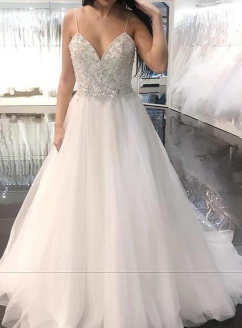 A-Line White Tulle Spaghetti Straps Beaidng Wedding Dress