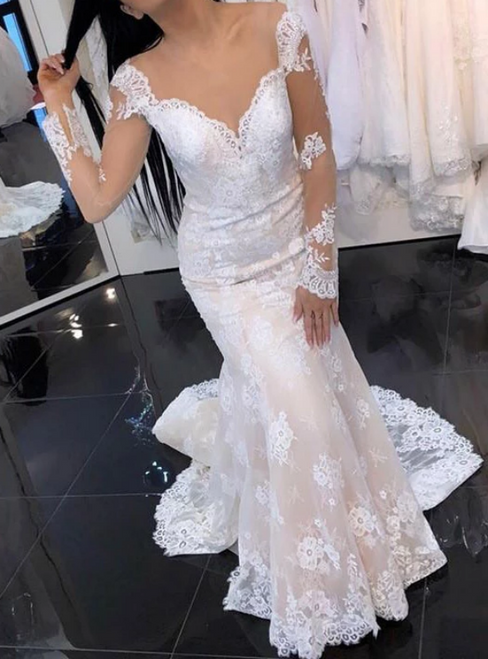 Ivory Mermaid Lace Long Sleeve See Through Back Wedding Dress
