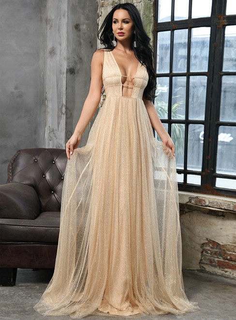 In Stock:Ship in 48 Hours Gold Tulle Deep V-neck Party Dress