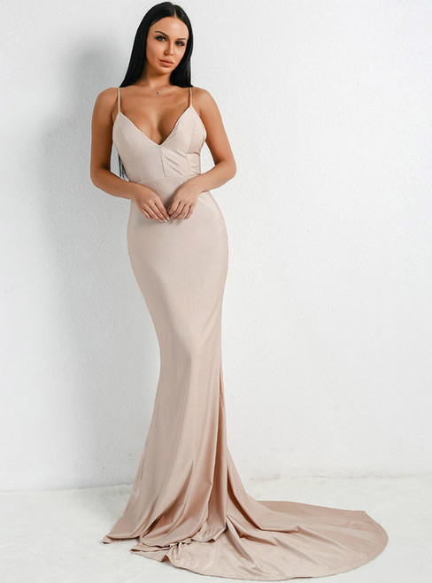 In Stock:Ship in 48 Hours Khaki Mermaid Spaghetti Straps Party Dress