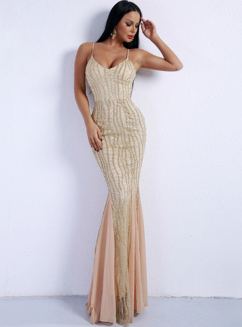 In Stock:Ship in 48 Hours Gold Mermaid Sequins Formal Party Dress
