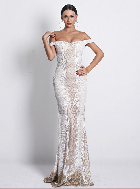 In Stock:Ship in 48 Hours Champagne Mermaid Sequins Off the Shoulder Party Dress