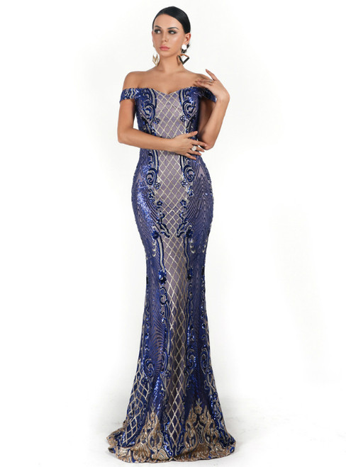 In Stock:Ship in 48 Hours Sexy Blue Mermaid Sequins Off the Shoulder Party Dress