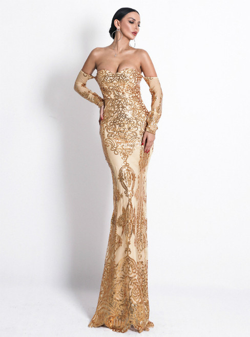 In Stock:Ship in 48 Hours Gold Mermaid Off the Shoulder Long Sleeve Party Dress