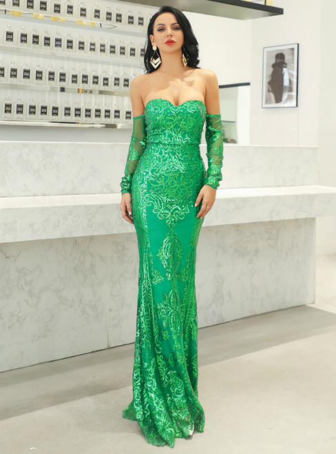 In Stock:Ship in 48 Hours Green Mermaid Off the Shoulder Long Sleeve Party Dress