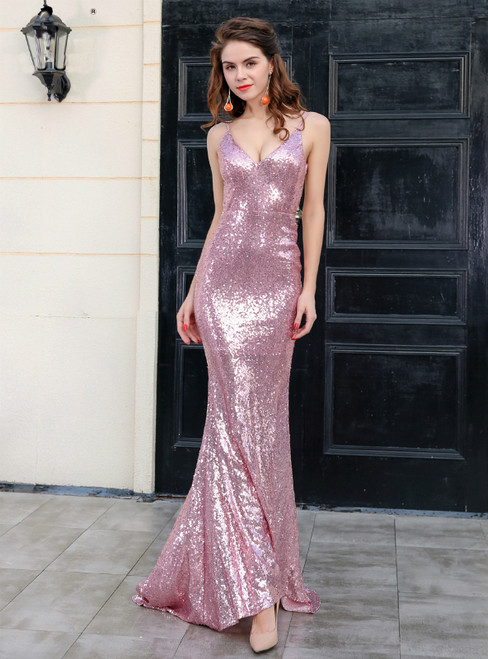 In Stock:Ship in 48 Hours Pink Mermaid Sequins Backless Party Dress