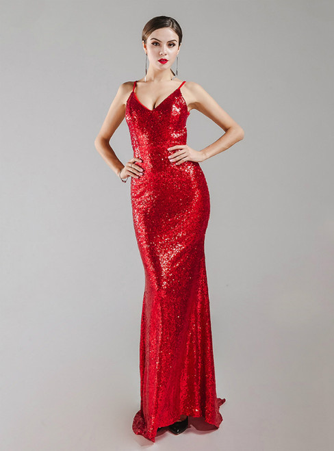 In Stock:Ship in 48 Hours Red Mermaid Sequins Backless Party Dress