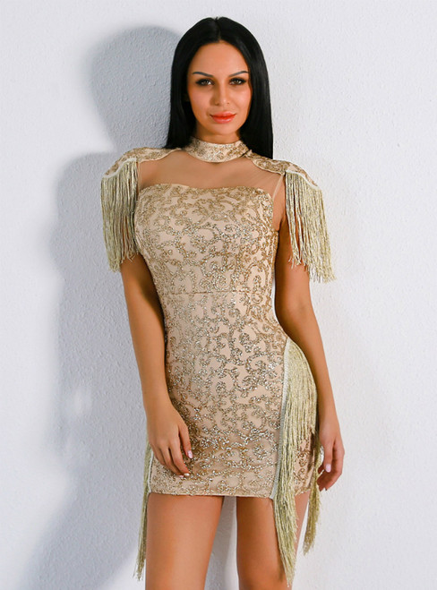 In Stock:Ship in 48 Hours Gold Sheath Sequins High Neck Party Dress