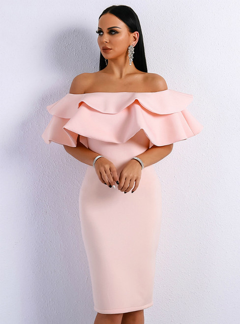 In Stock:Ship in 48 Hours Pink Mermaid Off the Shoulder Party Dress