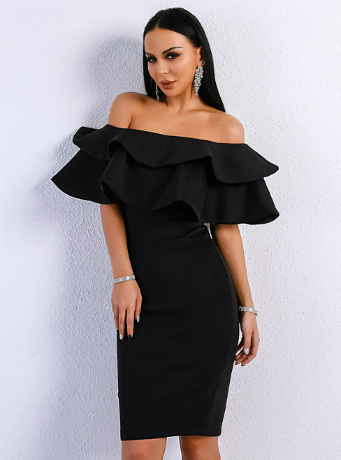 In Stock:Ship in 48 Hours Sexy Black Mermaid Mini Off the Shoulder Party Dress