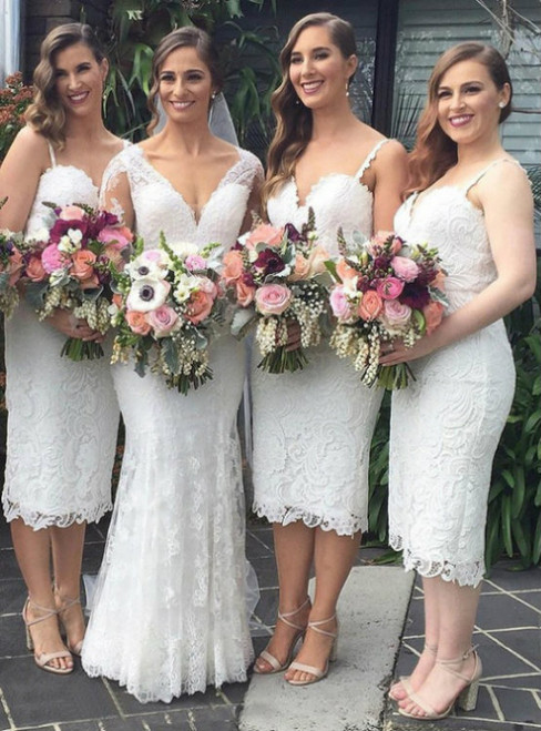 Short Bridesmaid Dresses Outlet Sheath Sleeveless Spaghetti Straps Ankle-Length Lace Zipper Dresses