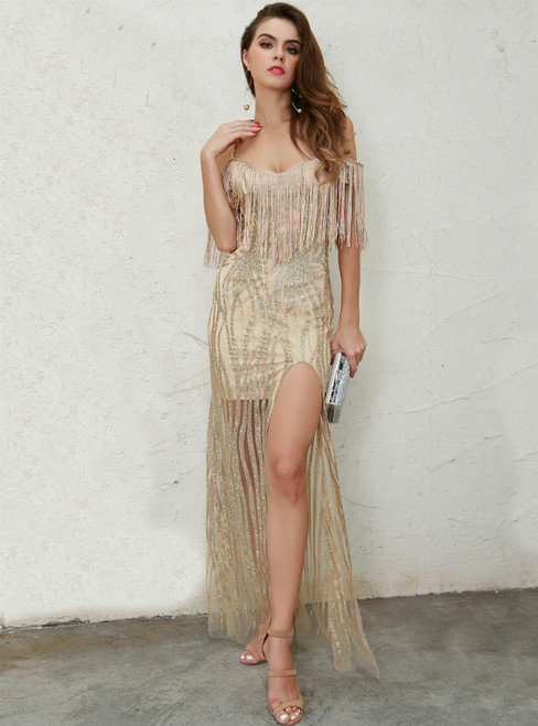 In Stock:Ship in 48 Hours Gold Sequins Tassels Party Dress With Side Split