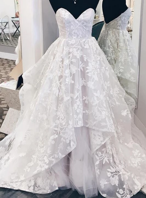 White Ball Gown Tulle Appliques Sweetheart Wedding Dress