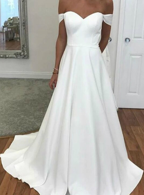 A-Line White Satin Off the Shoulder Wedding Dress